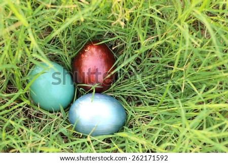 Colorful easter eggs hidden in dense grasses. Spring holidays concept. - stock photo