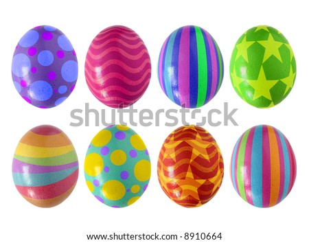 Colorful Easter eggs isolated in white background - stock photo