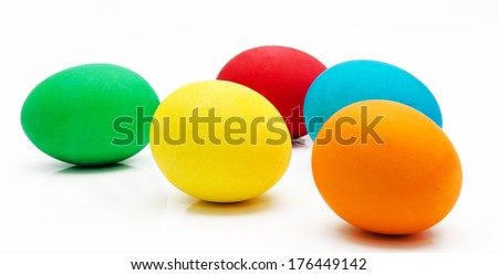 Colorful easter eggs isolated on a white background - stock photo