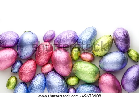 Colorful easter eggs isolated on white background - stock photo