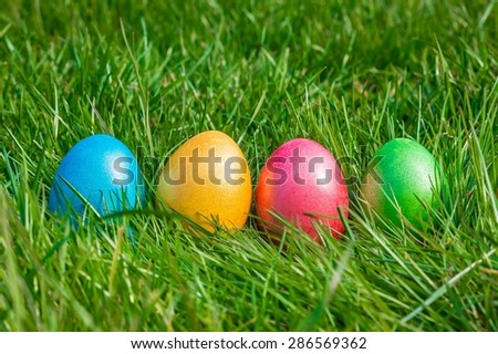 Colorful Easter eggs on a green grass