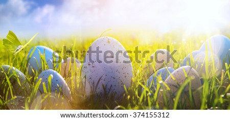 Colorful Easter eggs on the grass on blue sky background