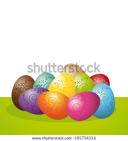 Colorful easter eggs on white background. - stock photo
