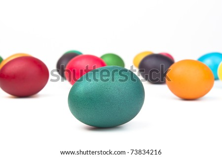 Colorful Easter eggs shot in perspective