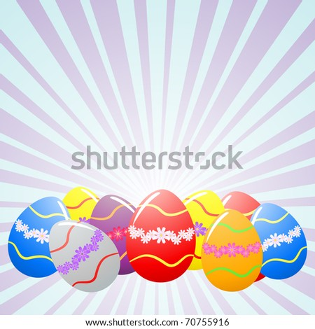 Colorful Easter eggs under rays - stock photo