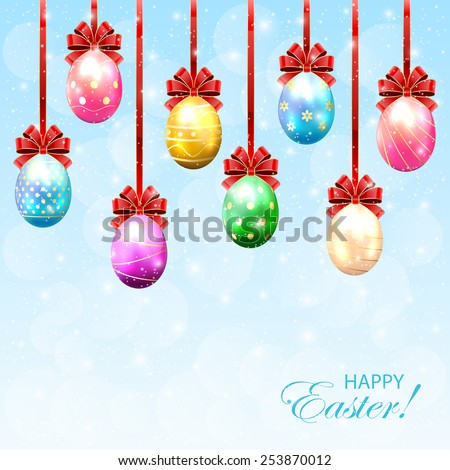 Colorful Easter eggs with bow on sunny background, illustration. - stock photo