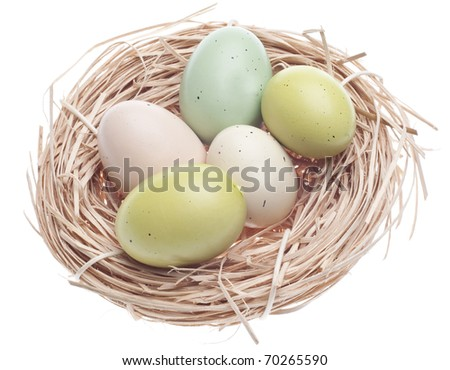 Colorful Eggs in Nest Easter Spring Image.