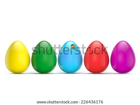 colorful eggs tweet bird isolated white background with clipping path