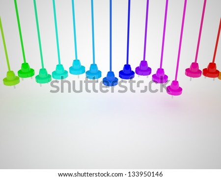 Colorful electric plugs isolated on white. 3D render. - stock photo