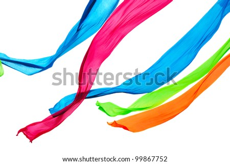 Colorful elegant smooth satin isolated on a white background - stock photo