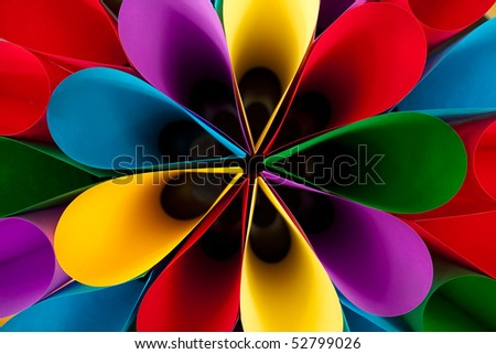 Colorful Elliptical Flower Shaped Abstract - stock photo