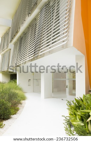 Colorful entrance of a modern house - stock photo