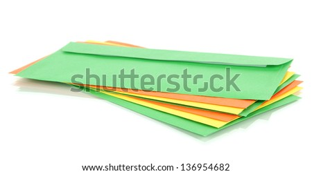 Colorful envelopes isolated on white - stock photo