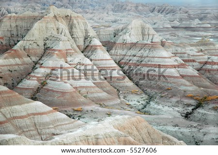 Colorful erosion features in the Badlands National Park, South Dakota. - stock photo