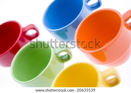 Colorful Espresso Mugs - stock photo