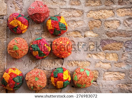 Colorful ethnic Rajasthan turbans on market at Jaisalmer fort, Rajasthan, India - stock photo