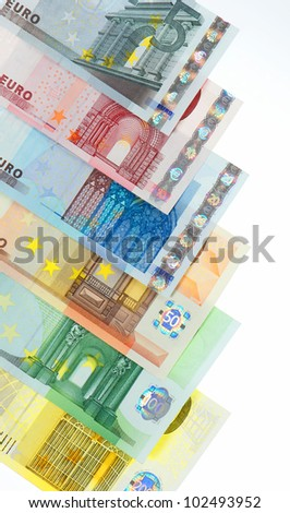 colorful euro currency banknotes background