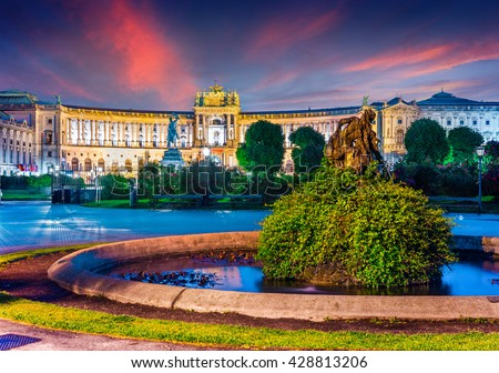 Colorful evening view of Vienna Hofburg Imperial Palace with Statue of Emperor Joseph II. Beautiful outdorr scene in Vienna, Austria, Europe. Artistic style post processed photo. - stock photo
