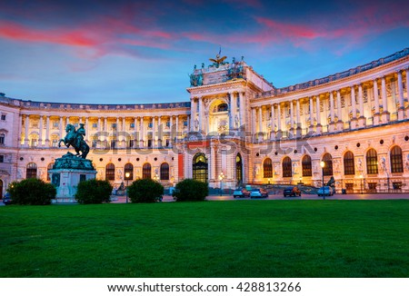 Colorful evening view of Vienna Hofburg Imperial Palace with Statue of Emperor Joseph II. Beautiful outdorr scene in Vienna, Austria, Europe. Artistic style post processed photo.