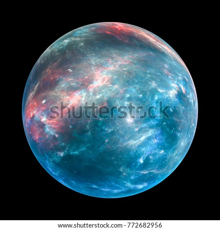 Colorful exoplanet insolated on black, computer generated abstract background, 3D rendering