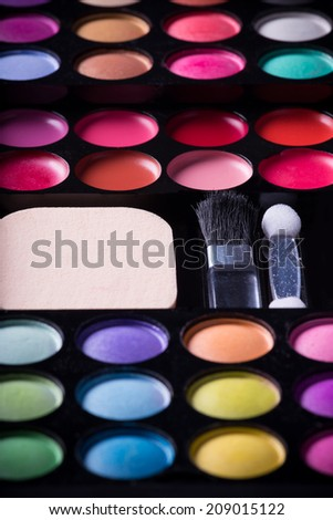 Colorful eye shadows palette.