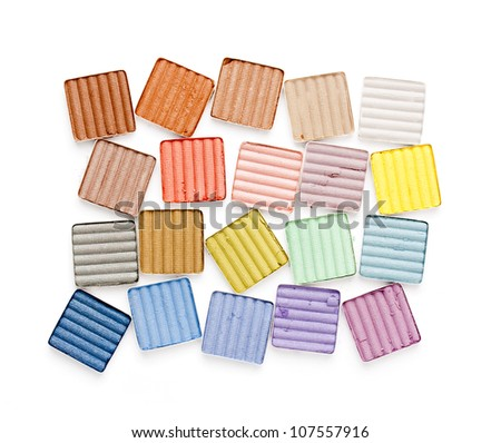 colorful eyeshadow on white background - stock photo
