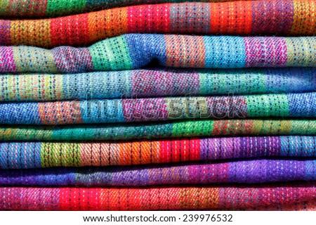 Colorful Fabric at market in Uyuni, Bolivia, South America - stock photo