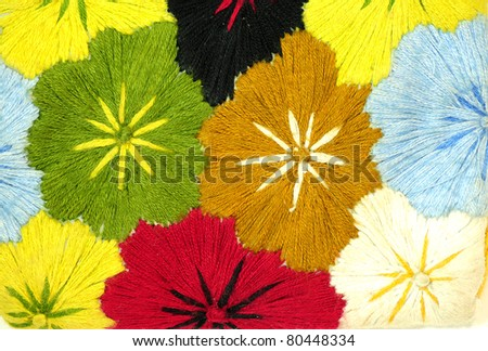 Colorful Fabric flower 2 - stock photo