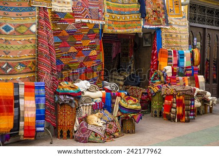 Colorful fabrics on the Agadir market in Morocco - stock photo