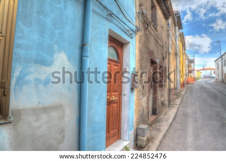 colorful facades in hdr tone - stock photo