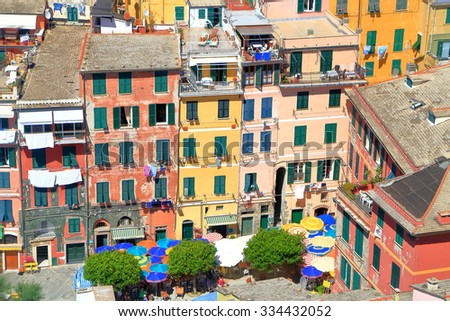 Colorful facades of traditional buildings in the village of Vernazza, Cinque Terre, Italy - stock photo