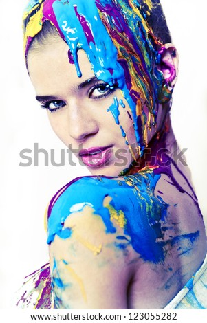 Colorful face - stock photo