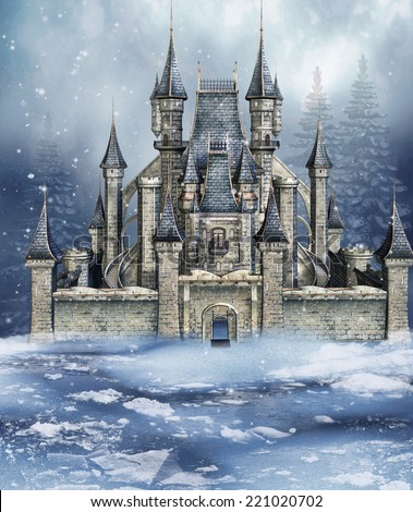 Colorful fairytale castle in a winter forest  - stock photo