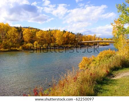 Colorful fall foliage along the Bow River, Calgary, Canada - stock photo