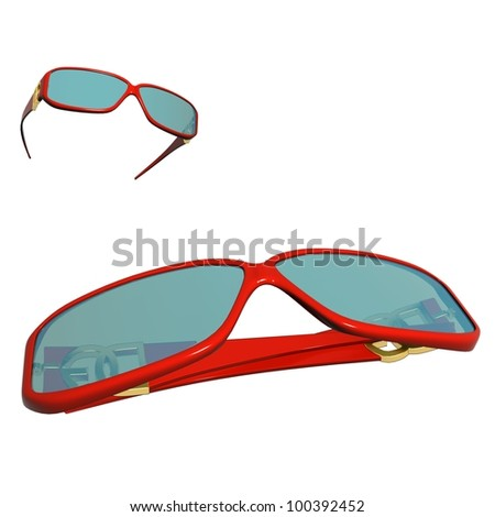 Colorful fancy colored sun glasses on white background