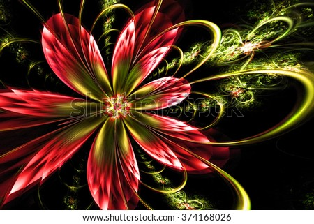 colorful fantasy artistic flower with lighting effect. Beautiful shiny futuristic background for wallpaper, interior, album, flyer cover, poster, booklet. Fractal artwork for creative design. - stock photo
