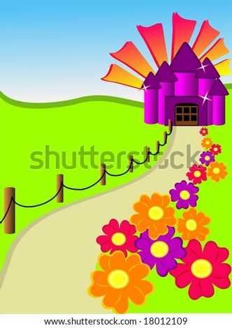 Colorful fantasy castle at the end of a flower lined path.