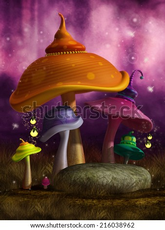 Colorful fantasy mushrooms with shining lanterns and glowing flies in a pink forest - stock photo