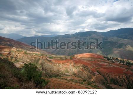Colorful farmland,dongchuan,yunnan,china - stock photo