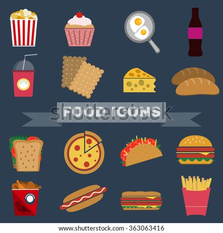 Colorful Fast Food and Snacks Icons Set. French Fries, Hamburger, Soda Drinks, Hot Dog and Crackers. Daily Lunch Break Goodies. Digital raster flat illustration.