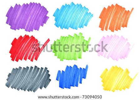 Colorful felt tip ink markers scribbles macro with paper fiber details visible. - stock photo