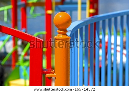 Colorful fence around a playground for children on the island Malta.