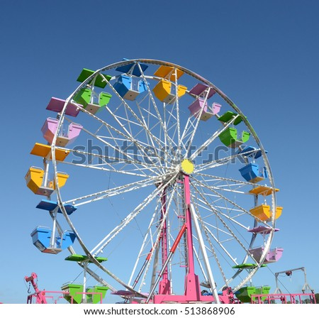 Colorful ferris wheel awaits customers