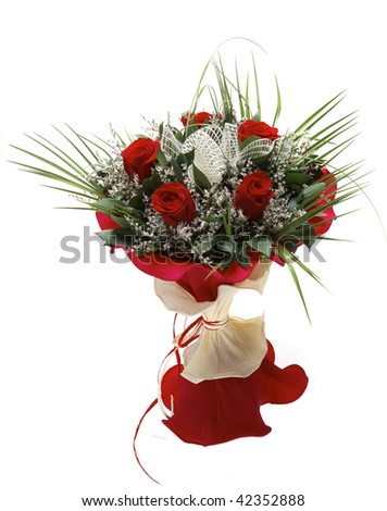colorful festive bouquet isolated on white - stock photo