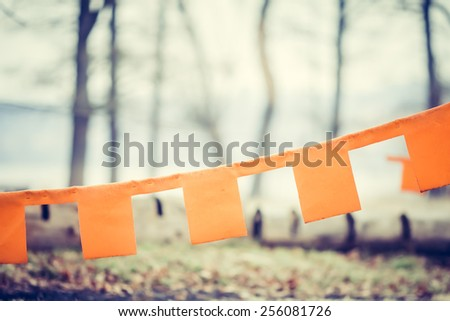 Colorful Festive Bunting Flags in front  of a Lakeside Background in Retro and Vintage Tone - stock photo