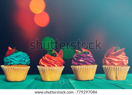 colorful festive cupcakes