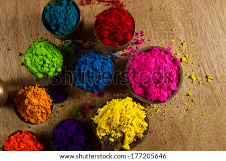 Colorful, finely powdered Indian pigments. - stock photo