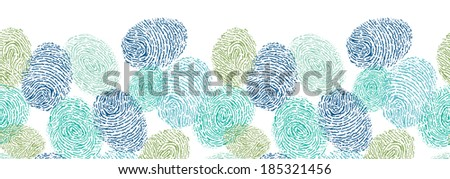 Colorful fingerprints horizontal seamless pattern background border raster - stock photo