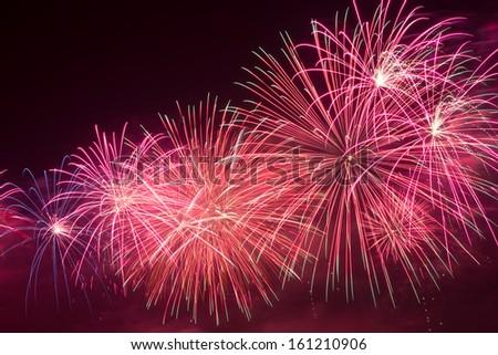Colorful firework display. - stock photo