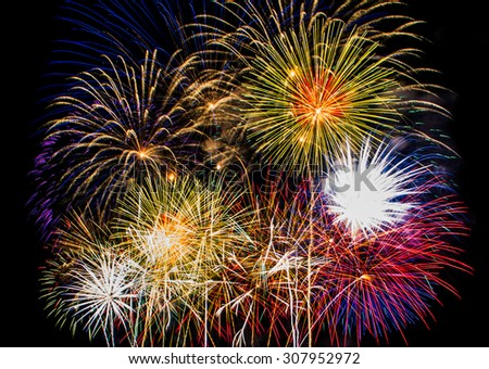 Colorful firework show  close up detail. - stock photo